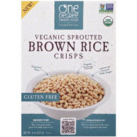 One Degree Organic Foods Veganic Sprouted Brown Rice Crisps Cereal, 8 oz, (Pack of 12)