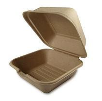 World Centric Compostable/Biodegradable Fiber Take Out Burger Box - 500 ct.