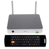 Ugoos Mele Ugoos UT1 Mini TV BOX Rockchip RK3188 Quad Core Cortex A9 Android 4.2 OS @ 1.8Ghz 2G/8G Double External Wifi Antenna RJ45 AV Silver With Mele F10 3 in 1 Fly/Air Mouse and Wireless Keyboard