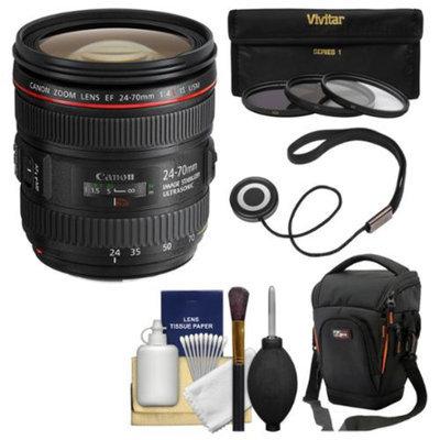 Canon EF 24-70mm f/4L IS USM Zoom Lens with Case + 3 Filters + Kit for EOS 6D, 70D, 7D 5D Mark II III, Rebel T3, T3i, T5, T5i, SL1 DSLR Camera
