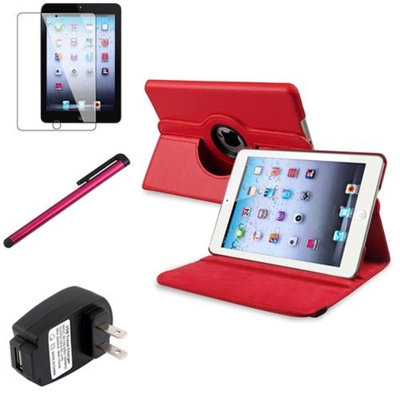 Insten iPad Mini 3/2/1 Case, by INSTEN Red 360 Leather Flip Case Cover+Protector Pen for iPad Mini 3 2 1