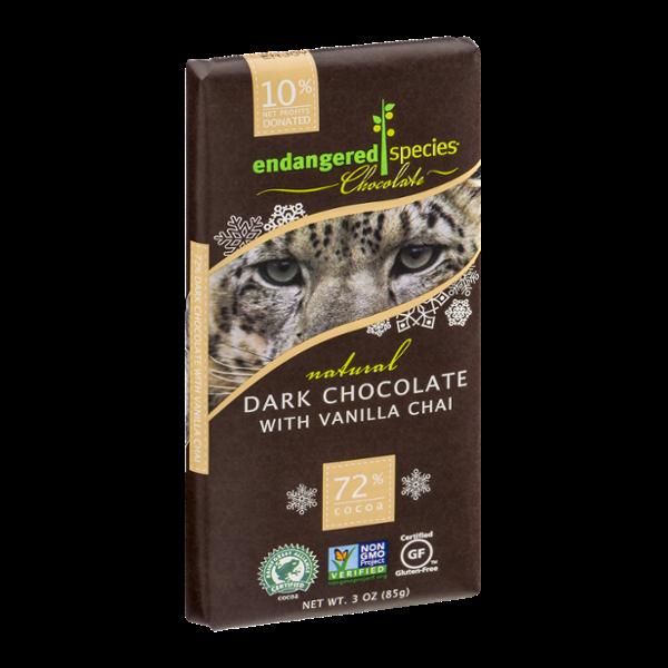 Endangered Species Chocolate Dark Chocolate Vanilla Chai 72% Cocoa
