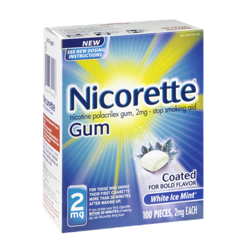 Nicorette 2mg White Ice Mint Coated Stop Smoking Aid Gum - 100 CT