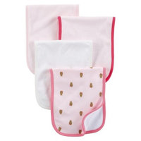 Just One You Made by Carter's Just One YouMade by Carter's Newborn Girls' 4 Pack Burp Cloth Set -