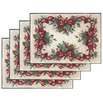 Manual Woodworkers & Weavers Inc Balsam, Berries, Bows 72-inch Table Runner