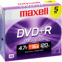 Maxell DVD Recordable Media - DVD+R - 16x - 4.70 GB - 5 Pack Jewel Case