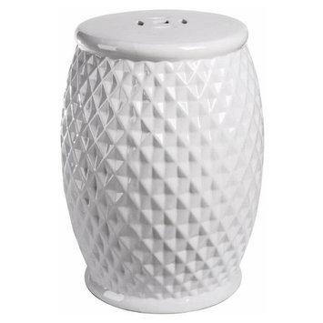 Abbyson Living Royala Tufted Ceramic Garden Stool in White