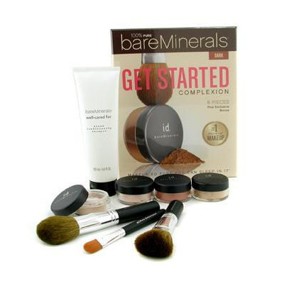 Bare Escentuals 100% Pure BareMinerals Get Started Complexion Kit - Dark (2xFdn Spf15+Tinted Mineral Veil+Face Color+3xBrush+DVD+Brush Shampoo)