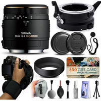 47th Street Photo Sigma 50mm F2.8 EX DG Macro Lens for Canon (346101) with Exclusive Dual Lens Holder/Flipper + Wrist Strap + Cap Keeper + Deluxe Lens Cleaning Kit + $50 Gift Card for Prints