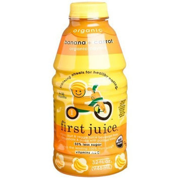 First Juice Organic Banana + Carrot, 32 Ounce Bottle (Pack of 6)