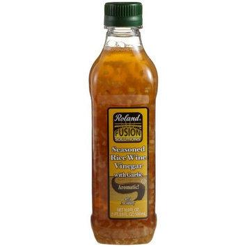 Roland Seasoned Rice Wine Vinegar with Garlic, 16.9-Ounce Bottle
