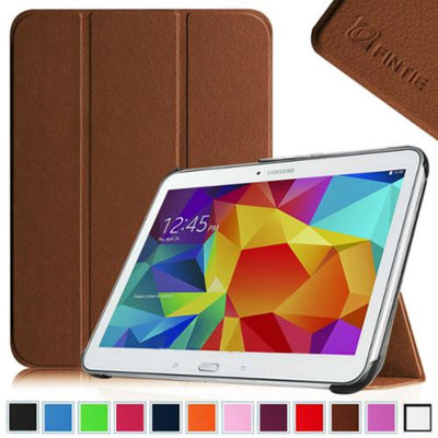 Fintie Smart Shell Case Ultra Slim Lightweight Stand Cover for Samsung Galaxy Tab 4 10.1 Tablet, Brown
