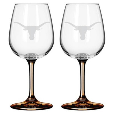 NCAA Texas Longhorns Boelter Brands 2 Pack Satin Etch Wine Glass - 12 oz