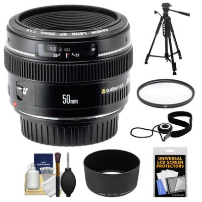 Canon EF 50mm f/1.4 USM Lens + UV Filter + ES-71II Hood + Tripod + Accessory Kit for Canon EOS 60D, 7D, 5D Mark II III, Rebel T3, T3i, T4i Digital SLR Cameras