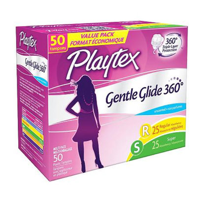 Playtex Gentle Glide Plastic Unscented Multi-Pack Tampons 50-ct.