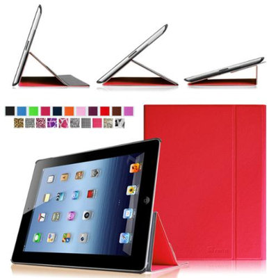 Fintie Smart Book Cover Case Supports Three Viewing Angles for Apple iPad 2, iPad 3 & iPad with Retina Display, Red