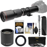 Vivitar 500mm f/8.0 Telephoto Lens with 2x Teleconverter (=1000mm) + Monopod + 3 Filters Kit for Canon EOS Digital SLR Cameras