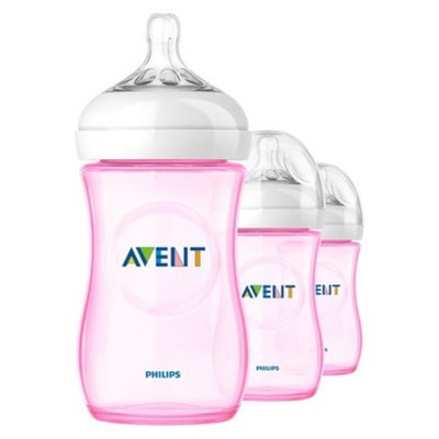 Philips Avent BPA Free Natural 9 Ounce Polypropylene Bottles, Pink, 3-