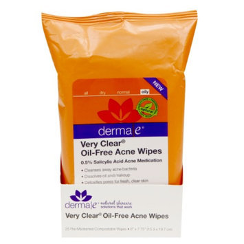 derma e Very Clear Oil-Free Acne Wipes, 25 ea