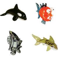 BrainStorm Looking Glass Miniature Glass Figurines, 4-Pack, Orca/Piranha/Angel Fish/Tiger Shark