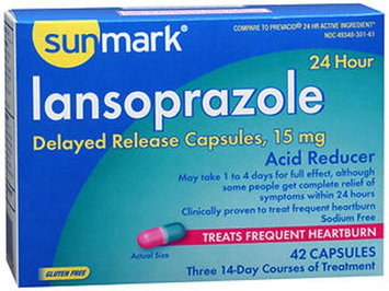 Sunmark Lansoprazole 24 Hour Acid Reducer Capsules, 15 mg, 42 Caps by Sunmark