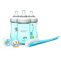 Philips AVENT Natural 9 Ounce Baby Bottle Feeding Gift Set - Blue Monkeys