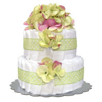 Bella Sprouts Diaper Cake, Two Tier, Green/White