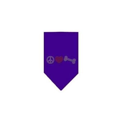 Ahi Peace Love Bone Rhinestone Bandana Purple Large