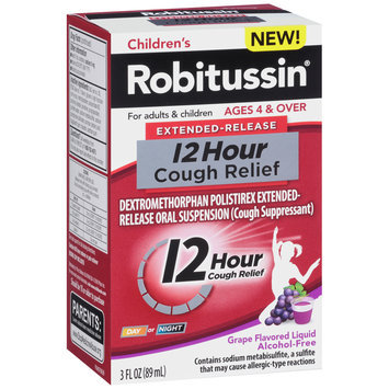 Children's Robitussin® Extended-Release 12 Hour Cough Relief Grape Flavored Liquid 3 Fl. Oz. Box