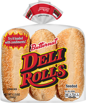 Butternut® Enriched Seeded Deli Rolls 6 ct Package