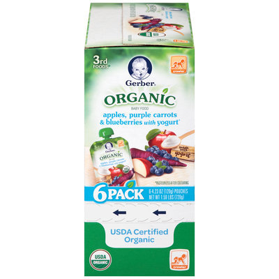 Gerber® Organic 3rd Foods® Apples, Purple Carrots & Blueberries with Yogurt Baby Food 6-4.23 oz. Pouches