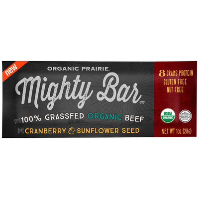 Organic Prairie® Mighty Bar™ Organic Beef with Cranberry & Sunflower Seed 1 oz. Wrapper