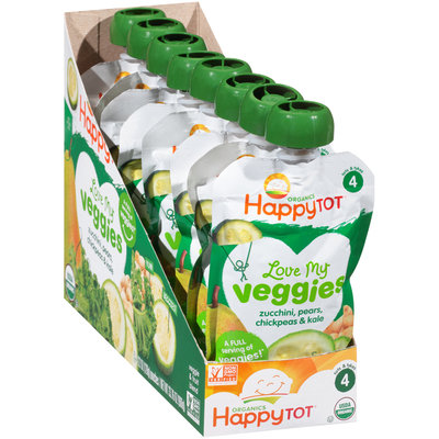 Happy Tot® Organics Love My Veggies Zucchini, Pears, Chickpeas & Kale Veggie & Fruit Blend 8-4.22 oz. Pouches