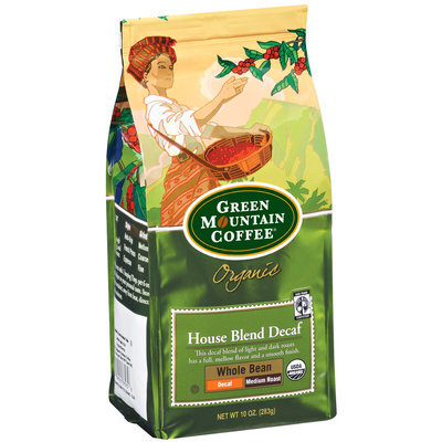 Green Mountain Coffee Roasters Organic House Blend Decaf Whole Bean Medium Roast Coffee 10 Oz Stand Up Bag