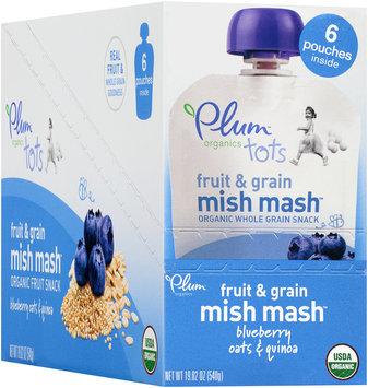 Plum Organics® Tots Fruit & Grain Mish Mash™ Blueberry, Oats & Quinoa Snack 6 ct Pouches