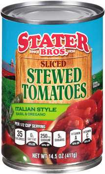 Stater Bros.® Sliced Stewed Tomatoes Italian Style Basil & Oregano 14.5 oz. Can