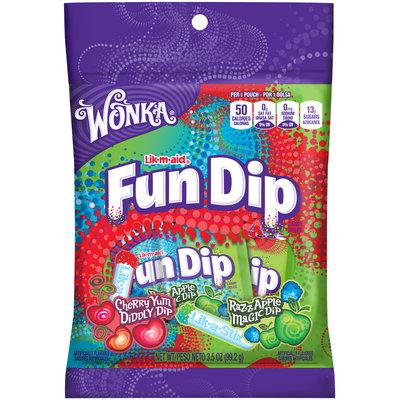 WONKA FUN DIP Cherry Yum Diddly Dip and Razz Apple Magic Dip 3.5 oz. Bag
