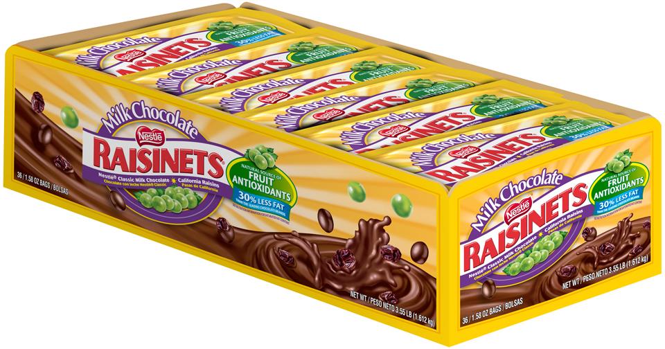 RAISINETS Milk Chocolate Covered Raisins 36 ct