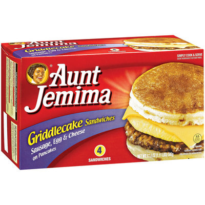 Aunt Jemima Sausage Egg & Cheese On Pancakes 4 Ct Griddlecake Sandwiches 17.6 Oz Box