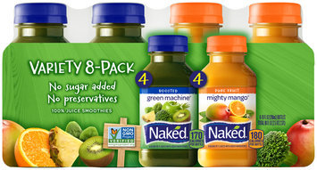 Naked® Boosted Green Machine®/Pure Fruit Mighty Mango® 100% Juice Smoothies Variety Pack 8-10 fl. oz. Bottles