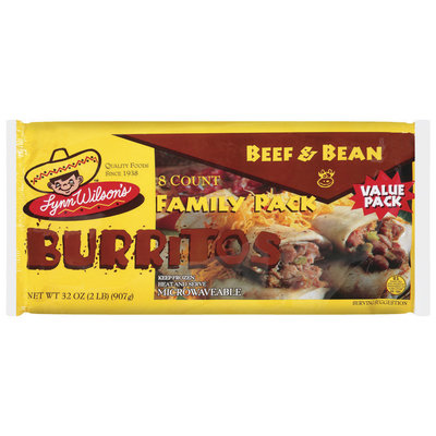 Lynn Wilson's Beef & Bean Family Pack Burritos 8 Ct Package