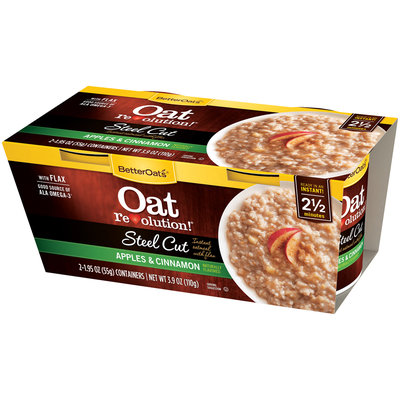 BetterOats® Oat Revolution!® Steel Cut Apples & Cinnamon Instant Oatmeal with Flax 2-1.95 oz. Containers