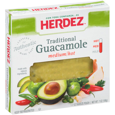 Herdez® Traditional Medium/Hot Guacamole 7 oz. Squeeze Pouch