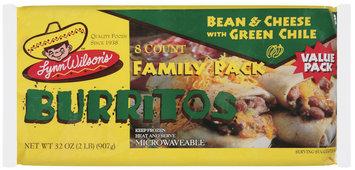 Lynn Wilson's Bean & Cheese W/Green Chile Family Pack Burritos 8 Ct Package