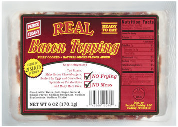 PATRICK CUDAHY Retail 6oz Real Topping Sweet Apple-Wood Smoked Bacon Fully Cooked 6 OZ PACKAGE
