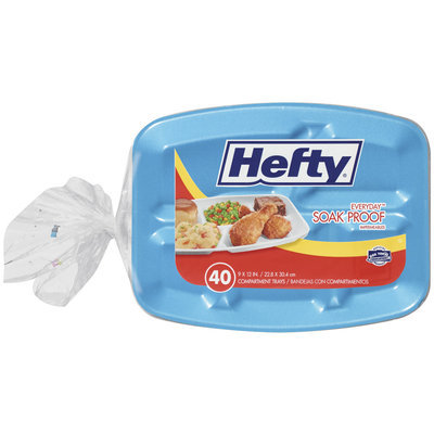 HEFTY EVERYDAY PLATES Soak Proof 9 X 12 In Foam Compartment Trays 40 CT BAG