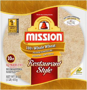 Mission® 100% Whole Wheat Flour Tortillas Medium Soft Taco 10 ct..