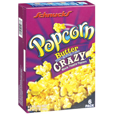 Schnucks Microwave Butter Crazy Movie Theatre Popcorn 6-3.5 Oz Bags Popcorn 21 Oz Box
