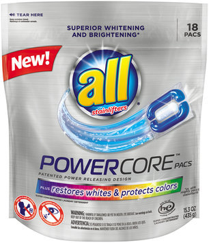 All® with Stainlifters PowerCore™ Pacs Super Concentrated Laundry Detergent 18 ct Bag