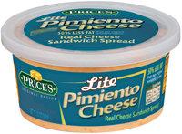 Price's Lite Pimiento Cheese Cheese Sandwich Spread 12 Oz Tub